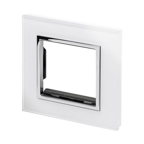 RetroTouch Euro Data Plate Single (2 Module Space) White Glass CT 00172